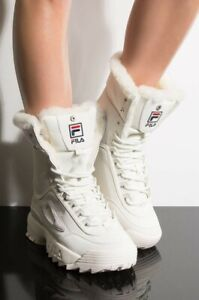 FILA DISRUPTOR BOOT FUR OFF WHITE IVORY LACE UP FUR LINING WOMENS  BOOTS