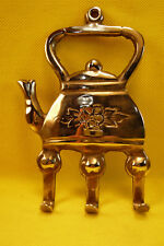 VINTAGE TEAKETTLE 3 HOOK HANGER-Silver Tone-Made in India-3 1/2 x 5 1/2 Inches