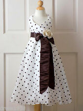 Girls Pageant, Holiday, Party Dress, Polka Dot ,Ivory/Brown, Sz 4 (4 years)