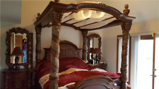 Michael Amini Villa Valencia King Canopy bed with bedside chest with attached mi