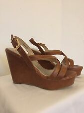 New Women's Open Toe High Wedge Shoe Size 7 Tan Color