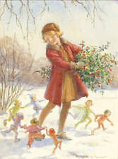 Christmas Girl elves, with Holly by Margaret Tarrant