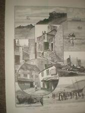 Rambling Sketches St Ives Cornwall 1889 prints ref AR