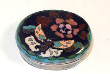 BRONZE JAPANESE CLOISONNE ROYAL BLUE ENAMEL FLORAL BUTTERFLY JAR BOX