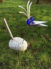 Edelstahl Vogel / Garten Skulptur 70cm Granitvogel V2A