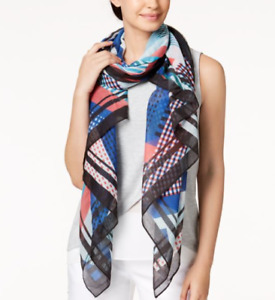 """Calvin Klein Abstract Painterly Chiffon Scarf & Cover-Up -Multicolor - 76"""" -S438"""