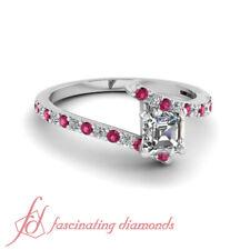 .80 Ct Asscher Cut Untreated Diamond & Pink Sapphire Engagement Ring Pave Set