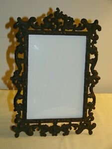 """Vintage Depose' Ornate Metal Picture Photo Frame 5x7"""" Convex Glass Italy 7x10in"""