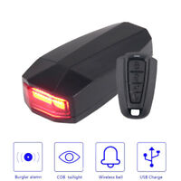 LED Bicycle Rear Taillight Cycling Remote Control Alarm Lock Bike Bell Wirelss