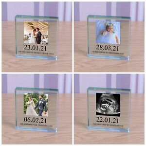 Special Date - Personalised Photo Glass Block Ornament Gift 8cm