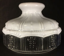 """New 10"""" Glass Oil Lamp Shade Satin White Top Clear Crystal Panel fits Aladdin"""