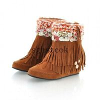 Sweet Womens Faux Suede Bohemia Lace Flower Hidden Wedge Tassel Ankle Boot Shoes