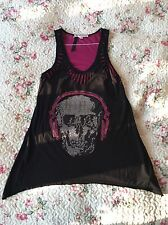 Tally Weijl Stylish Top Studded Skull With Headphones DJ Music Black Pink Size M