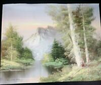 R Thomas Canvass Painting Of Nature Mountain Trees And Lake Unframed