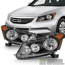 For Black 2008-2012 Honda Accord 4-Door Sedan Headlights Headlamps Left+Right