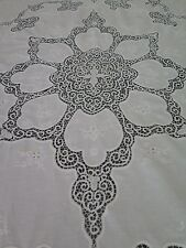 """Vtg Antique Cantu Tape Lace White Banquet Tablecloth or Coverlet 94"""" x 106"""""""