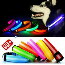 LED Dog Pet Collar Flashing Luminous Safety Night Light Up USB Rechargeable UK