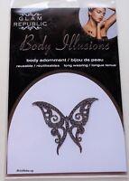 Glam Republic Body Illusions Body Adornment Glitter Tattoo Silver Butterfly