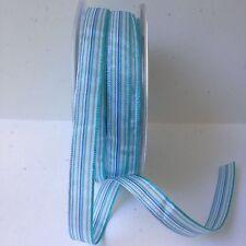 "3/8"" Stripe Satin Ribbon - May Arts - WM34 - Turquoise - 50 Yds"