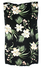 White Stag Womens 22W / 24W Black Skirt Floral A Line Back Elastic Flat Front