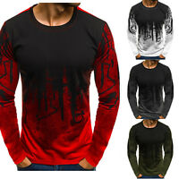 Mens Long Sleeve Crew Neck T-shirt Tie Dye Under Base Layer Slim Muscle Tops Tee