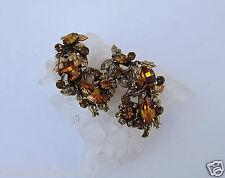 Vintage CORO Earrings Rhinestone Leaf Flower Garden Design CURVE Along The Ear