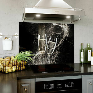 Glass Splashback Kitchen Tile Cooker Panel Champagne Splash  590x750 mm BESPOKE