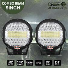 PAIR 9 inch LED SPOT Driving Lights Round CREE Spotlights 12V 24V BLACK 99999W