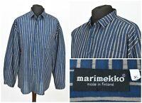 Mens Marimekko Vintage Casual Shirt Striped Blue Cotton Button Size XXL / 2XL