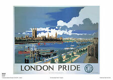 LONDON RETRO PARLIAMENT POSTER VINTAGE RAILWAY TRAVEL ADVERTISING ART THAMES