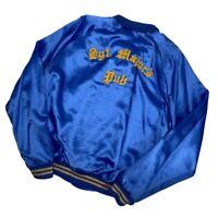 Vintage 80s Satin Bomber Snap Jacket Embroidered Cliff XL Sargent Majors Pub