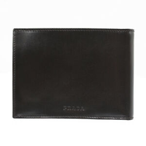 PRADA Leather Bifold Wallet Card Holder Brown Compact Unused Men Q1913