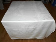 69X121 Vtg Antique White IRISH LINEN DOUBLE DAMASK Tablecloth
