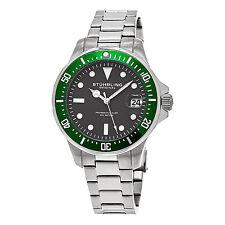 Stuhrling Original Men's 664.03 Aquadiver Quartz Gray Dial Stainless Steel Watch