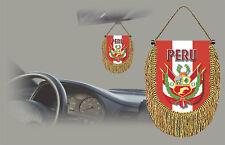 PERU REAR VIEW MIRROR WORLD FLAG CAR BANNER PENNANT
