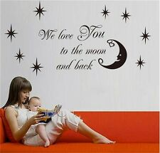 We love you to the moon and back vinyl wall decal stickers baby bedroom decor