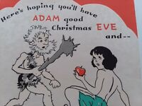 UNUSED Vtg ADAM Good Christmas EVE Be ABLE to Raise CAIN All Year GREETING CARD