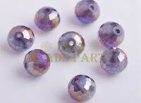 20pcs 10mm 96Facet Round Crystal Glass Loose Spacer Beads Bluish Violet AB