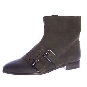 REBECCA MINKOFF Women's Rhea Deep Army Green Suede Ankle Boots Sz 7 NEW
