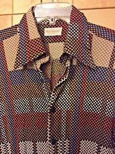 Vintage 70's Marlboro Disco Men's Geometric Dots 100% Nylon Long Sleeve Shirt L