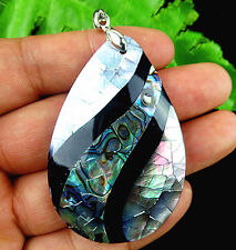 Beautiful natural Abalone shell carved Teardrop pendant bead BC1196