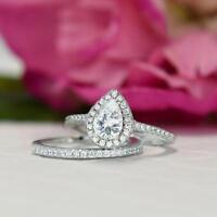 1.00 ctw Pear Diamond Halo Set Bridal Wedding Ring 14k White Gold Finish Jewelry