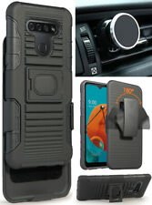 Black Rugged Case Cover Belt Clip and Magnetic Car Mount for LG K51, Reflect
