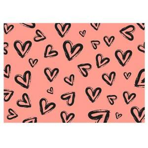 Unique High Quality Black Heart Gift Wrapping Paper-Pink Background. A3-GP246