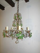 ~c 1920 French Green Crystal Prisms & Flowers Chandelier Gorgeous Authentic OLD~
