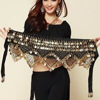 Gold Coins Belt Belly Dance Velvet Hip Scarf Wrap Dancer Perform Practice Skirt