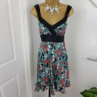 Monsoon Dress Midi Strap Belted Patterned Multi Floral Silk Blend Size UK 10