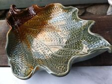 Green Brown Handthrown Leaf Bowl By Gill, NC Signed