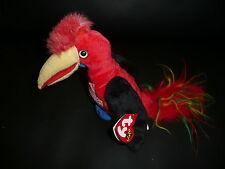 Neu Bean Bags Original Beanie Baby TY rot Vogel Frills Sammlg Papagei 05.03.2001