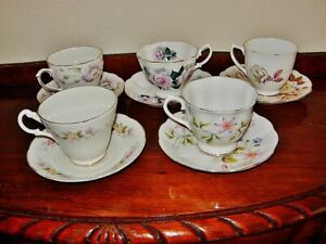 Fine bone china 5 various cups each w/matching saucer VGC made in england